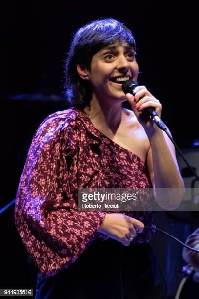 Singer Irit Dekel, aka Irit, performs on stage at The Queen's Hall on April 11, 2018 in Edinburgh, Scotland.