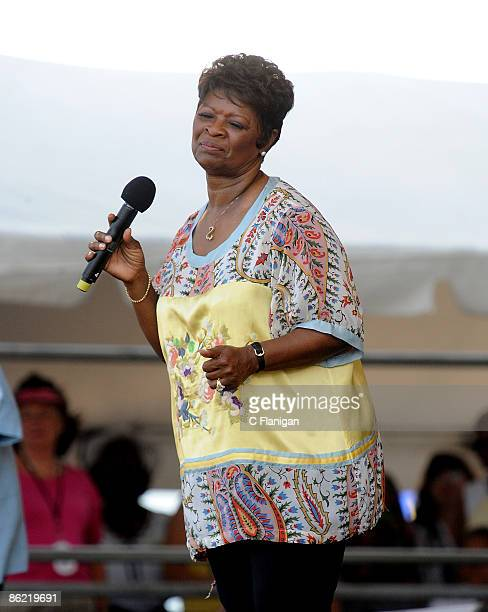 Singer Irma Thomas performs during day 2 of the 2009 New Orleans Jazz Heritage Festival Presented by Shell at the New Orleans Fairgrounds and...
