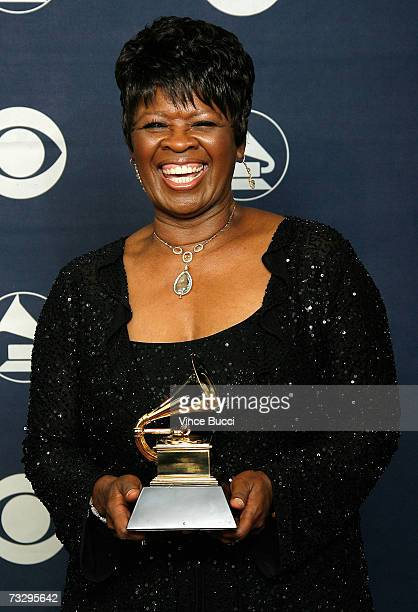 Singer Irma Thomas poses with her Grammy for Best Contemporary Blues Album in the press room at the 49th Annual Grammy Awards at the Staples Center...