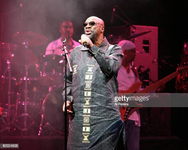 Singer Isaac Hayes performs during the 30th Celebrate Brooklyn Summer Season on June 12 2008 at the bandshell in Prospect Park in Brooklyn New York