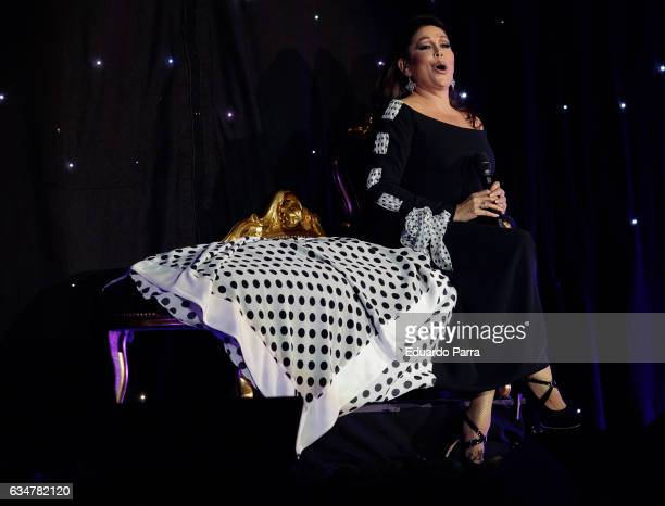 Singer Isabel Pantoja performs during her 'Hasta que se apague el sol' tour at WiZink Center on February 11, 2017 in Madrid, Spain.