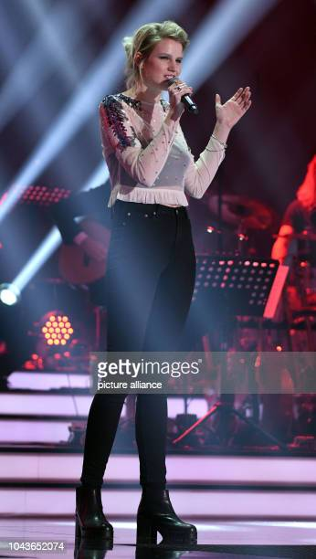 Singer Isabella 'Levina' Lueen standing on stage during a rehearsal of the 'Eurovision Song Contest - Our Song 2017' event in Cologne, Germany, 08...
