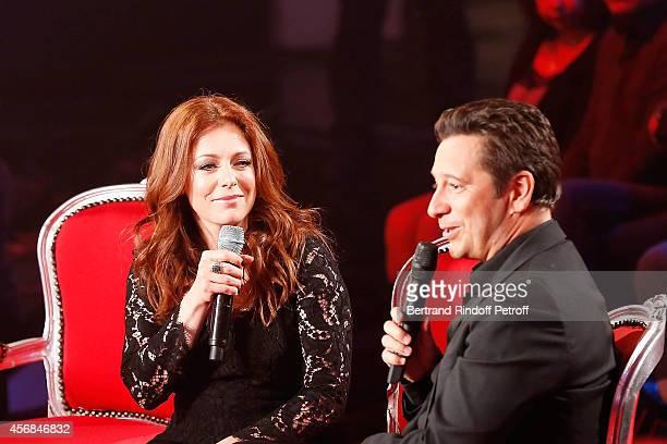 Singer Isabelle Boulay and Laurent Gerra attend 'C'est votre vie' guest Laurent Gerra Show in Studio de la PlaineSaintDenis on October 7 2014 in La...
