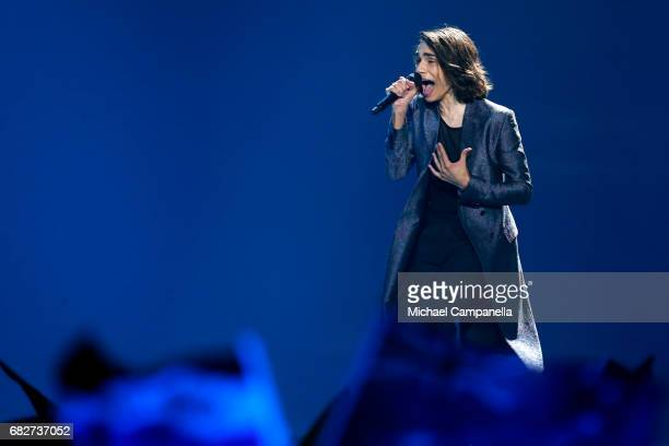 Singer Isaiah representing Australia performs the song 'Don't Come Easy' during the final of the 62nd Eurovision Song Contest at International...