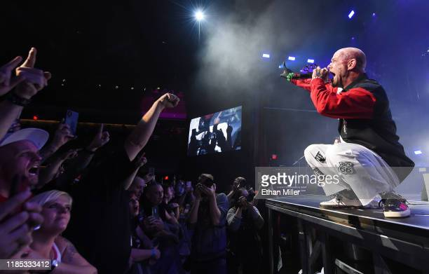 Singer Ivan Moody of Five Finger Death Punch performs as the band kicks off its fall 2019 tour at The Joint inside the Hard Rock Hotel Casino on...