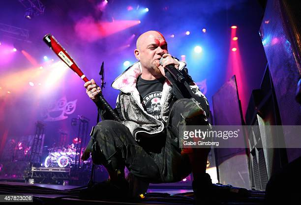 Singer Ivan Moody of Five Finger Death Punch performs at The Joint inside the Hard Rock Hotel Casino on October 24 2014 in Las Vegas Nevada