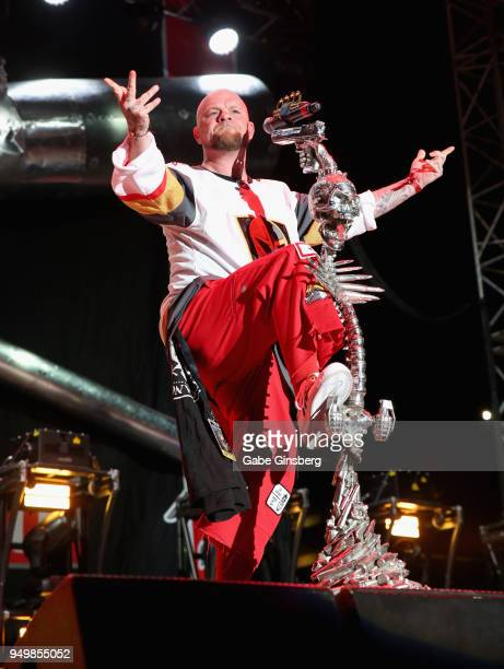 Singer Ivan Moody of Five Finger Death Punch performs during the Las Rageous music festival at the Downtown Las Vegas Events Center on April 21 2018...