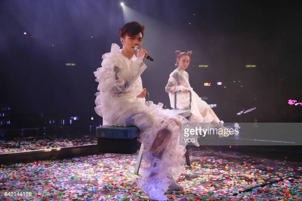 Singer Ivana Wong and singer Hins Cheung perform during The Magical Teeter Totter concert at Hong Kong Coliseum on February 16 2017 in Hong Kong China