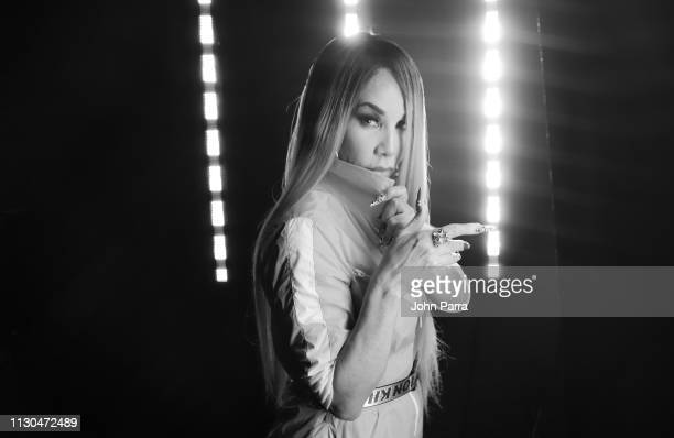 Image has been converted to black and white Singer Ivy Queen poses for a portrait on March 1 2019 in Miami Florida
