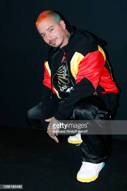 Singer J Balvin attends the Balmain Homme Menswear Fall/Winter 20192020 show as part of Paris Fashion Week on January 18 2019 in Paris France