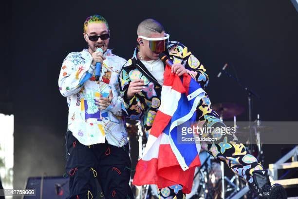 Singer J Balvin performs onstage as a special guest with Bad Bunny during Weekend 1 Day 3 of the Coachella Valley Music and Arts Festival on April 14...
