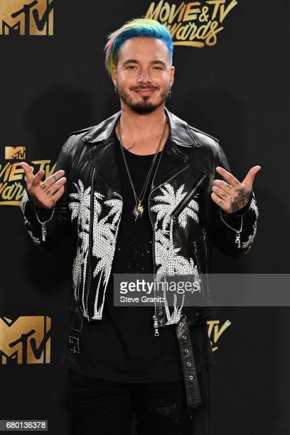 Singer J Balvin poses in the press room at the 2017 MTV Movie and TV Awards at The Shrine Auditorium on May 7 2017 in Los Angeles California