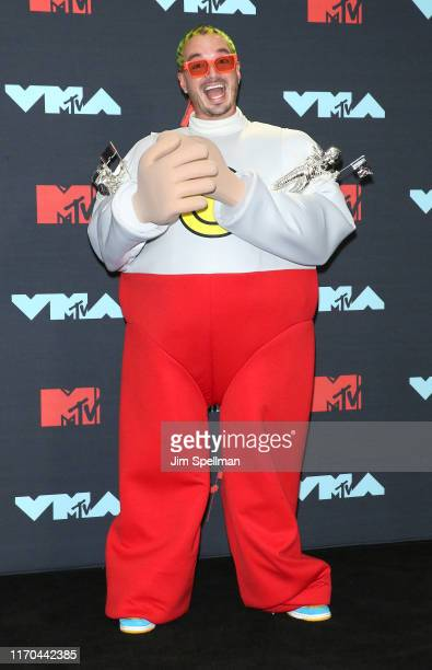 Singer J Balvin poses in the Press Room during the 2019 MTV Video Music Awards at Prudential Center on August 26 2019 in Newark New Jersey