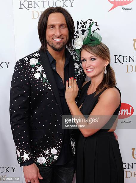 Singer J D Shelburne and fiance Amy Whitham arrive at the 142nd Kentucky Derby at Churchill Downs on May 7 2016 in Louisville Kentucky