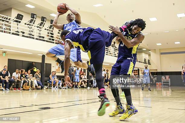 Singer J Valentine actor Arlen Escarpeta and actor Nyambi Nyambi play in the ELeague celebrity basketball playoffs at Equinox Sports Club West LA on...