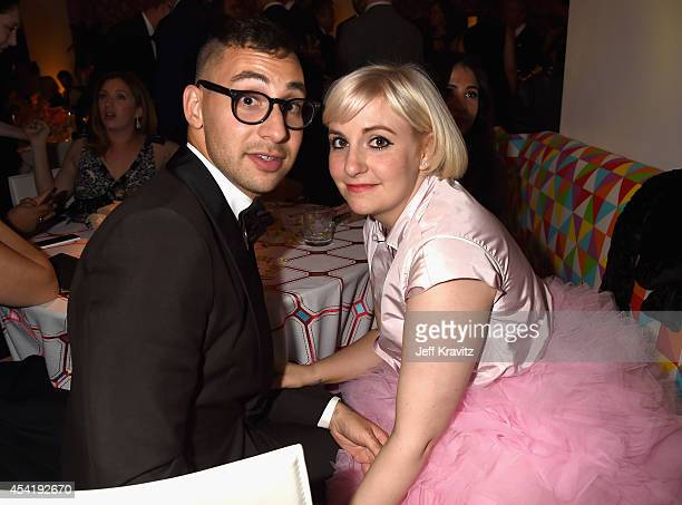 Singer Jack Antonoff and actress Lena Dunham attend HBO's Official 2014 Emmy After Party at The Plaza at the Pacific Design Center on August 25 2014...