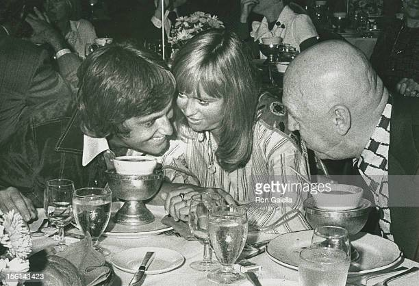 Singer Jack Jones actress Susan George and director George Preminger attend Third Annual Straw Hat Awards on May 16 1972 at Tavern on the Green in...