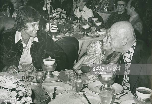 Singer Jack Jones actress Susan George and director Otto Preminger attend Third Annual Straw Hat Awards on May 16 1972 at Tavern on the Green in New...