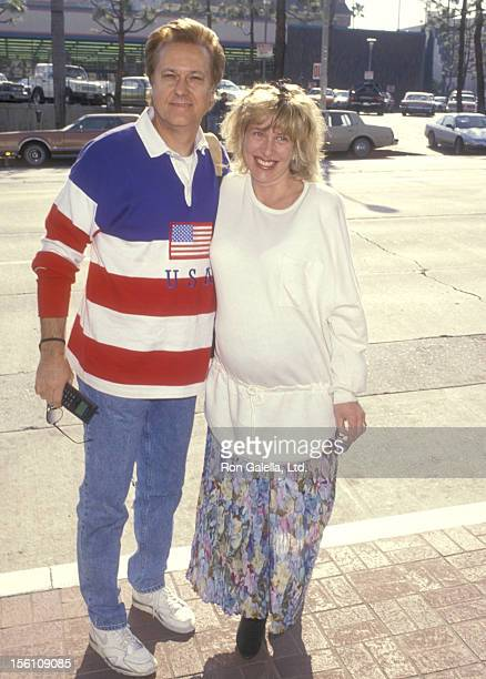 Singer Jack Jones and wife Kim Ely attend the Viewing Party for Super Bowl XXV New York Giants vs Buffalo Bills on January 27 1991 at Chasen's...