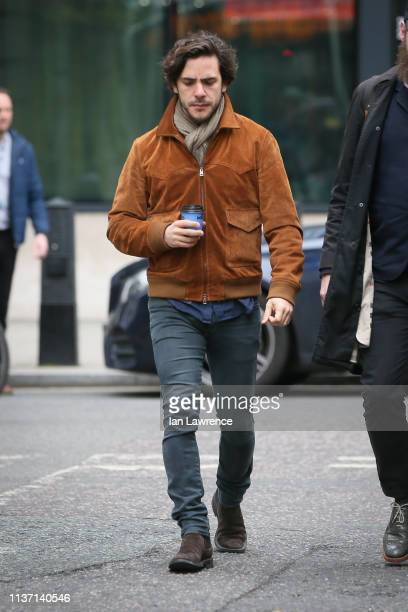 Singer Jack Savoretti arriving at BBC Radio Two Studios with a coffee to perform Live on Ken Bruce Show on March 20, 2019 in London, England.