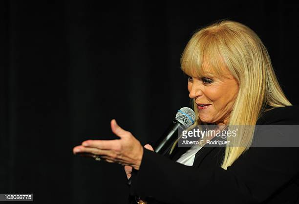 Singer Jackie DeShannon speaks onstage at the 36th Annual Los Angeles Film Critics Association Awards at the InterContinental Hotel on January 15...
