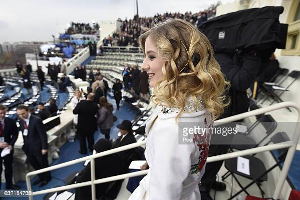 Singer Jackie Evancho arrives for the Presidential Inauguration of Donald Trump at the US Capitol on January 20 2017 in Washington DC Donald J Trump...