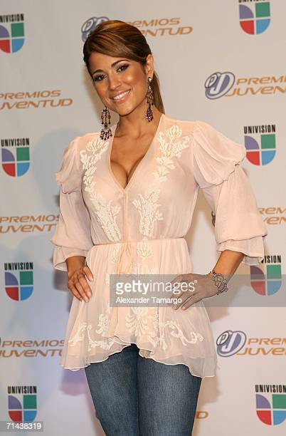 Singer Jackie Guerrido poses in the press room at the 3rd Annual Premios Juventud Awards at the University of Miami BankUnited Center July 13 2006 in...