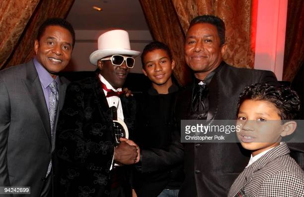 Singer Jackie Jackson rapper Flavor Flav Jaffar Jackson singer Jermaine Jackson and son Jermajesty Jackson attend the AE launch of 'The Jacksons A...