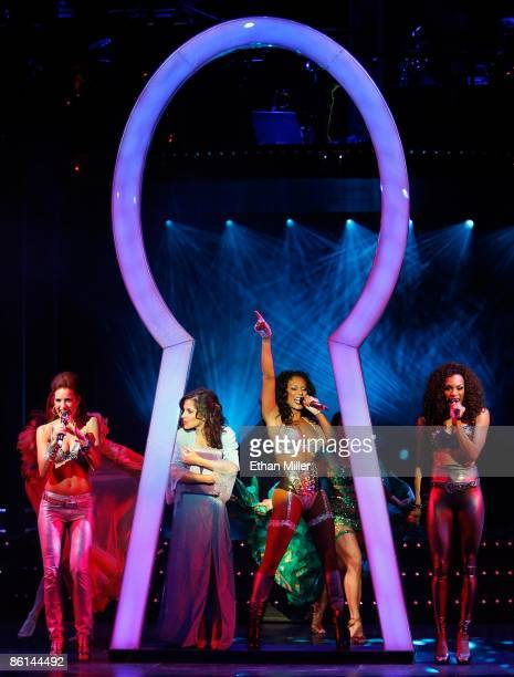 Singer Jackie Seiden actress Kelly Monaco singer Melanie Brown and singer Cheaza perform during the world premiere of the adult production PEEPSHOW...