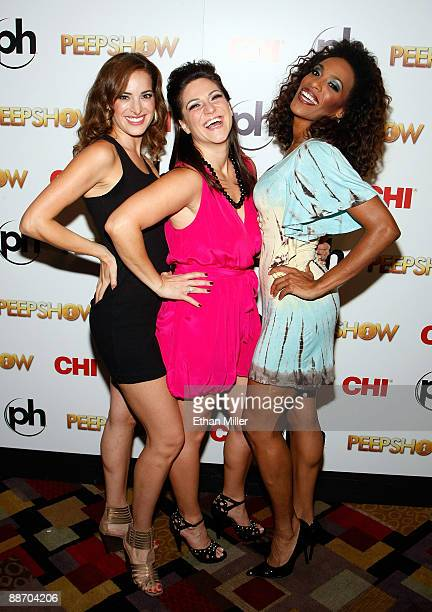 """Singer Jackie Seiden, actress Shoshana Bean and singer Cheaza appear at the after party for the adult production """"PEEPSHOW"""" at the Planet Hollywood..."""