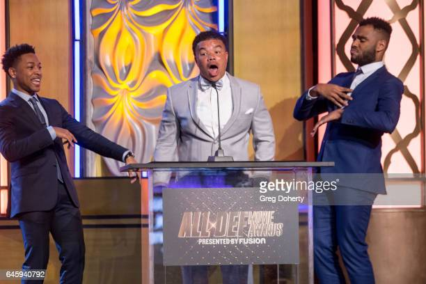 Singer Jacob Latimore Actor Red Grant and Screenwriter JD Hillard present an award at the 2nd Annual All Def Movie Awards at Belasco Theatre on...