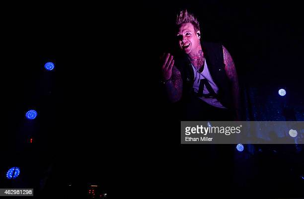 Singer Jacoby Shaddix of Papa Roach performs at The Joint inside the Hard Rock Hotel Casino on February 7 2015 in Las Vegas Nevada