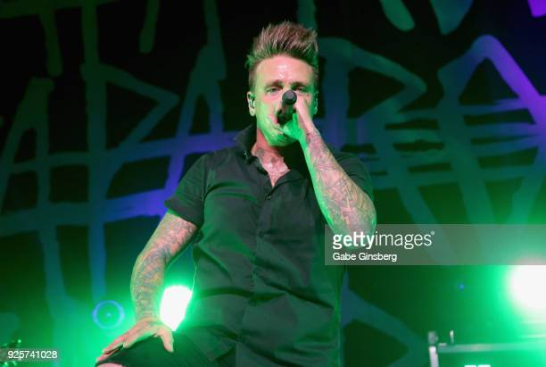 Singer Jacoby Shaddix of Papa Roach performs during a stop of the 15 Years in the Making tour at The Joint inside the Hard Rock Hotel Casino on...