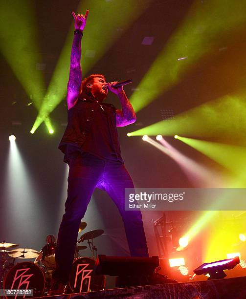 Singer Jacoby Shaddix of the band Papa Roach performs during the Carnival of Madness tour at The Joint inside the Hard Rock Hotel Casino on September...