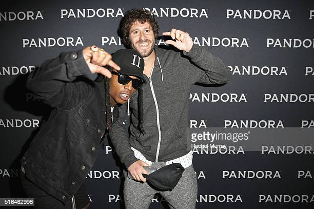 Singer Jacquees and Lil Dicky attend the PANDORA Discovery Den SXSW on March 18 2016 in Austin Texas