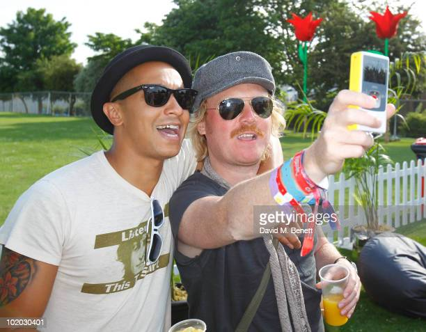 Singer Jade Jones and comedian Leigh Francis are seen in the Ray Ban area during day two of the Isle of Wight Festival 2010 at Seaclose Park on June...