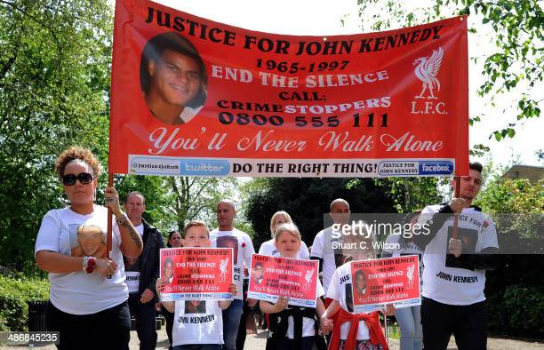 Singer Jade Jones his family and supporters prepare to march through East London with on April 26 2014 in London England They are marching to appeal...