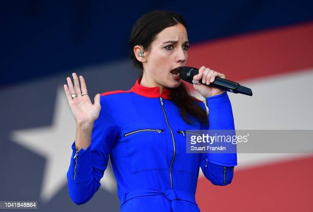 Singer Jain performs during the opening ceremony for the 2018 Ryder Cup at Le Golf National on September 27 2018 in Paris France
