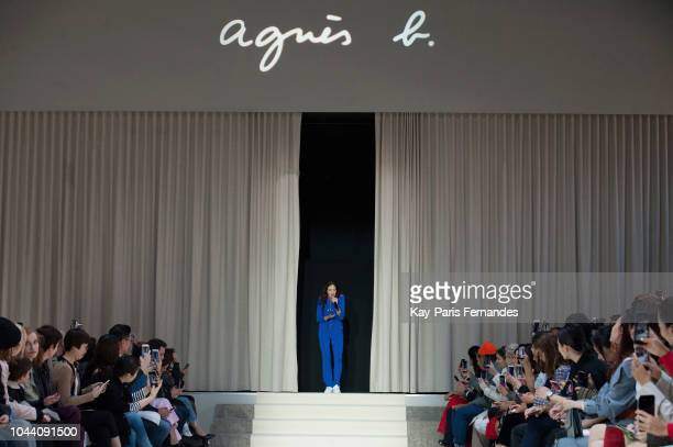 Singer Jain performs during the runway during the Agnes B show as part of the Paris Fashion Week Womenswear Spring/Summer 2019 on October 1 2018 in...