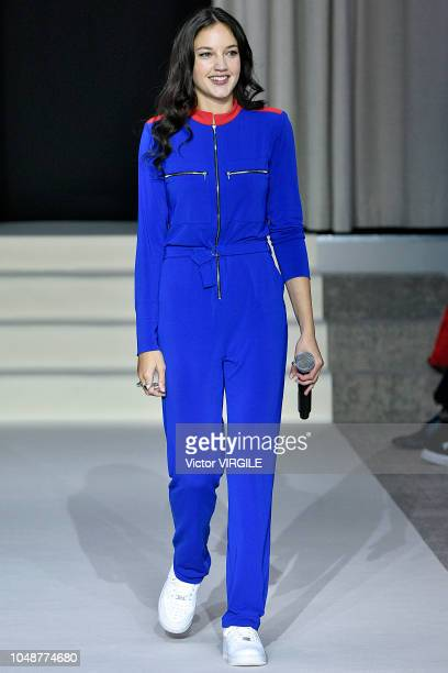 Singer Jain walks the runway during the Agnes B Ready to Wear fashion show as part of the Paris Fashion Week Womenswear Spring/Summer 2019 on October...