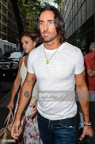 Singer Jake Owen and Lacey Buchanan leave the Today Show taping at the NBC Rockefeller Center Studio on July 14 2014 in New York City
