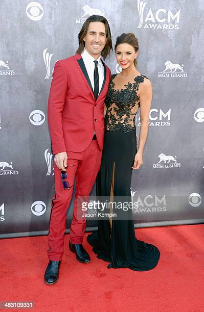 Singer Jake Owen and Lacey Owen attend the 49th Annual Academy Of Country Music Awards at the MGM Grand Garden Arena on April 6 2014 in Las Vegas...