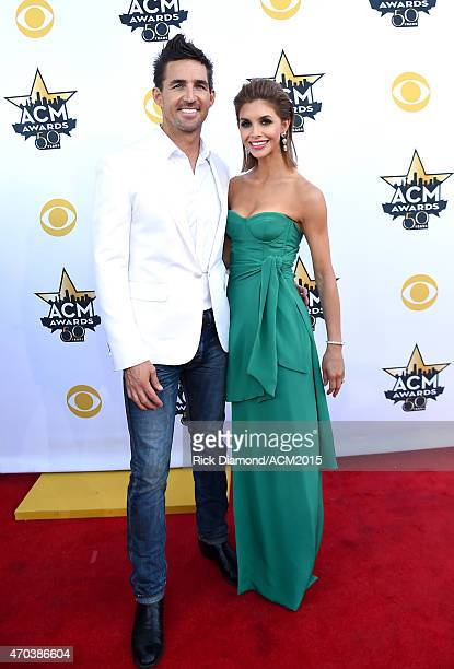 Singer Jake Owen and Lacey Owen attend the 50th Academy of Country Music Awards at ATT Stadium on April 19 2015 in Arlington Texas
