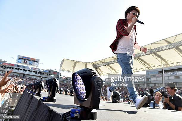 Singer Jake Roche of Rixton performs onstage during 1027 KIIS FM's 2014 Wango Tango at StubHub Center on May 10 2014 in Los Angeles California