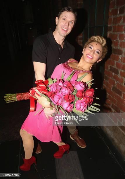 Singer Jake Shears and singer Kirstin Maldonado of Pentatonix pose backstage as Maldonado makes her broadway debut as Lauren in the hit musical Kinky...