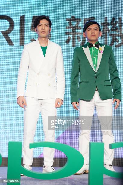 Singer Jam Hsiao and host Mickey Huang attend the OPPO endorsement event on May 7 2018 in Taipei Taiwan of China