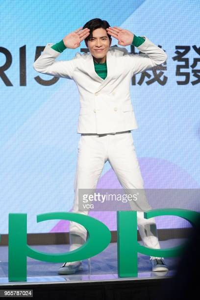 Singer Jam Hsiao attends the OPPO endorsement event on May 7 2018 in Taipei Taiwan of China