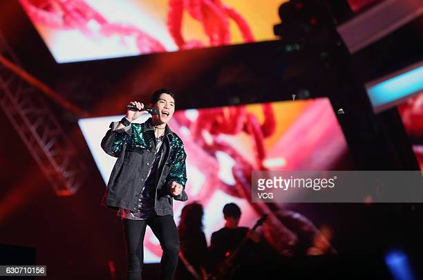 Singer Jam Hsiao performs at New Year's countdown party held by Zhejiang Satellite TV on December 30 2016 in Shenzhen Guangdong Province of China