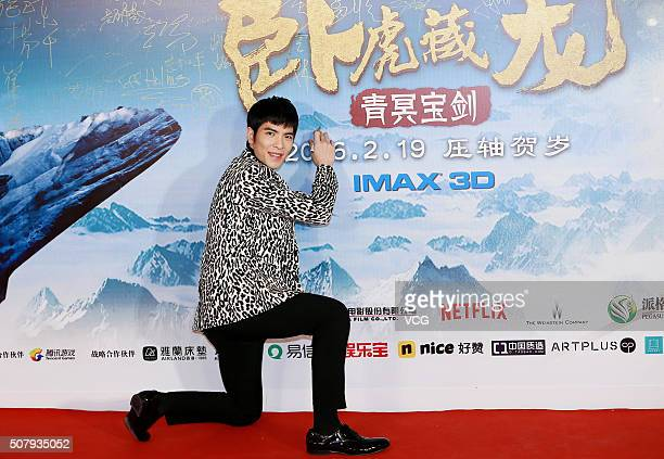 Singer Jam Hsiao poses on red carpet during the premiere of director Yuen Wooping's film Crouching Tiger Hidden Dragon The Green Destiny on February...