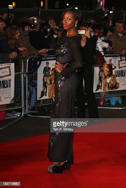 Singer Jamelia attends the World Premiere of Gambit at Empire Leicester Square on November 7 2012 in London England